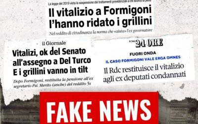 """VITALIZIO FORMIGONI. SPADONI (M5S): """"BASTA FAKE NEWS. GLI UNICI RESPONSABILI SONO I MEMBRI DELLA COMMISSIONE CONTENZIOSA DEL SENATO"""""""